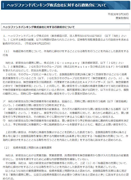 ヘッジファンドバンキング株式会社に対する行政処分について(平成30年5月30日/関東財務局)